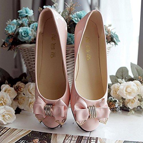 Transer ® Mode femmes Lady Bowknot plat en cuir Slip sur les chaussures de travail occasionnel Rose
