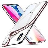 iPhone X Hülle [Kabelloses Aufladen Unterstützung], ESR Transparent Durchsichtig [Ultra Dünn] Klar Weiche TPU Schutzhülle mit Farbrahmen für Apple iPhone X 5.8''. (Rosegold)