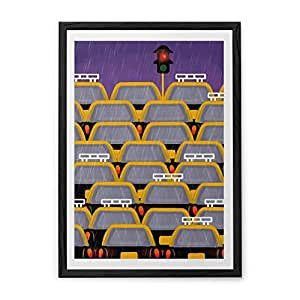 Chumbak Rainy Taxi Pwf Wall Art (CH WA087)