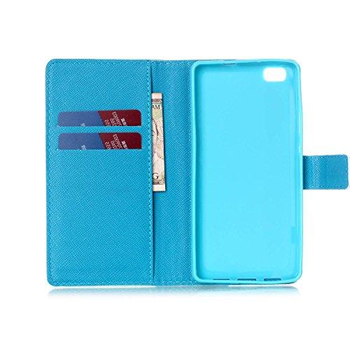 Coque pour Huawei P8 Lite, ISAKEN Élégant Style PU Cuir Flip Magnétique Portefeuille Etui Housse de Protection Coque Étui Case Cover avec Stand Support pour Huawei P8 Lite 5 Pouces (#9) #11