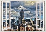3D-Wandbild Geöffnetes Fenster - großformatig aus hochwertigem Vinyl - wiederverwendbar - Poster Blick aus dem Fenster - Wandtattoo Badezimmer Wohnzimmer - 3D Fototapete New York City 85 x 115 cm