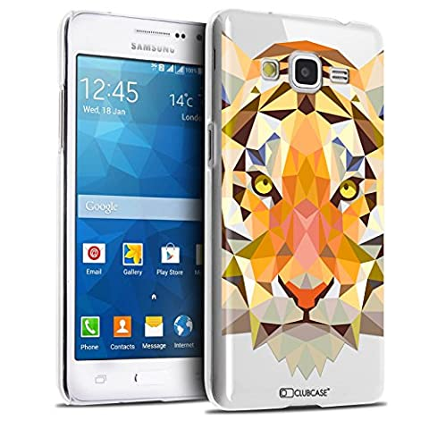 Caseink - Coque Housse Etui Samsung Galaxy Grand Prime SM-G530 [Crystal HD Polygon Series Animal - Rigide - Ultra Fin - Imprimé en France] - Tigre