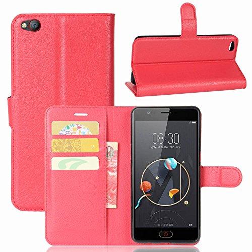 ZTE/Nubia M2 Lite Handyhülle Book Case ZTE/Nubia M2 Lite Hülle Klapphülle Tasche im Retro Wallet Design mit Praktischer Aufstellfunktion - Etui Rot