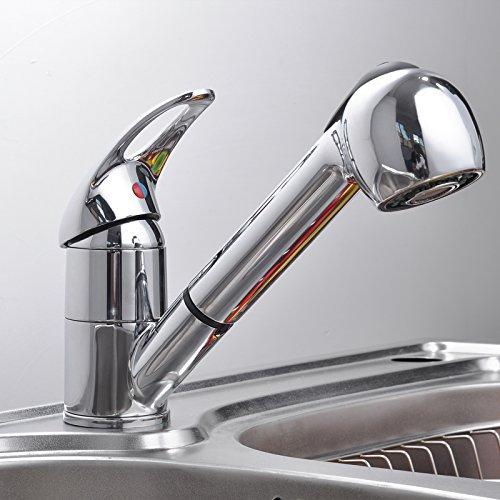 Ancheer Einhebel Waschtischarmatur Wasserhahn Spültisch Küche Waschtisch Waschenbecken mit herausziehbarem Brausekopf Armatur