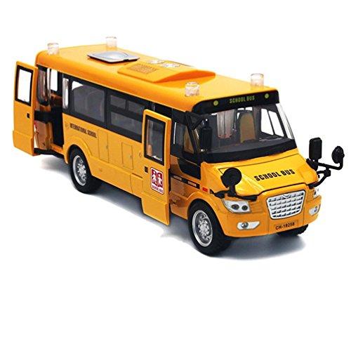 """Baellar 9 """"Giallo pull-back School Bus pressofuso in lega Veicoli giocattolo con luci, suoni e aprire le porte-grado"""