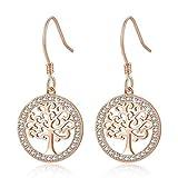 MEGA CREATIVE JEWELRY Damen Ohrringe Rosegold Lebensbaum aus 925 Sterling Silber mit Kristallen von Swarovski