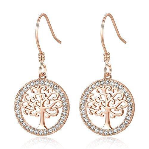 c290f43860a0 MEGA CREATIVE JEWELRY Pendientes para Mujer Árbol de la vida Plata 925 con Cristales  Swarovski Oro Rosa