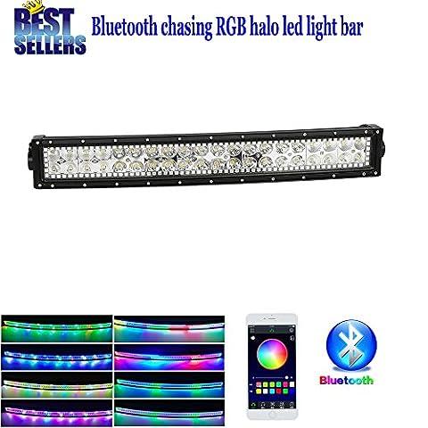 Colorbarz® incurvé 55,9cm 120W Barre lumineuse LED Combo Tempêtes de sable Lampes LED avec Halo par Bluetooth App contrôlée Conduite Lampes d'éclairage de lampe de brouillard Offroad pour SUV UTE ATV Camion 4x 4Bateau, garantie de 1an