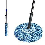 Masthome Easy Wring Twist Mop aus Mikrofaser mit 78-122 Edelstahl Teleskopstiel,Bodenwischer für Haushalt und geeignet für alle Boden