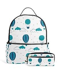 Preisvergleich für FANTAZIO Rucksäcke und Bleistift Tasche Süße Heißluftballon Schule Tasche Set Polyester Tagesrucksack mit Reißverschluss...