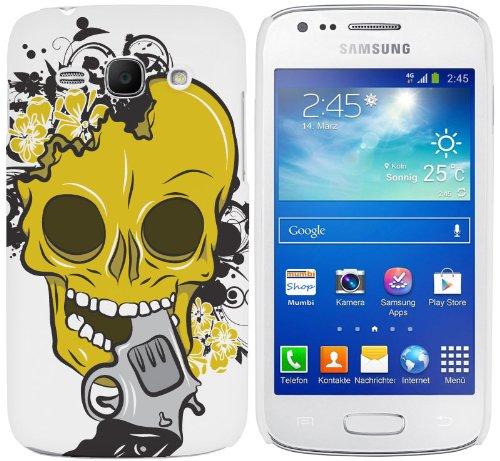 Cell Shell  Samsung Galaxy Ace 3 (S7270/S7272/S7275) Case / Cover / Custodia / Skin Rigida in Plastica / Snap On - Disegno Moderno Teschio giallo e bianco