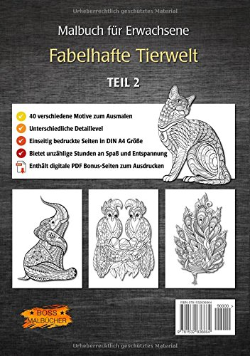Malbuch für Erwachsene – Fabelhafte Tierwelt | BOSS Malbücher
