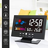 FJHJB Newest Digital LCD Colorful Backlight Alarm Clock Thermometer Weather Forecast Temperature Humidity Date