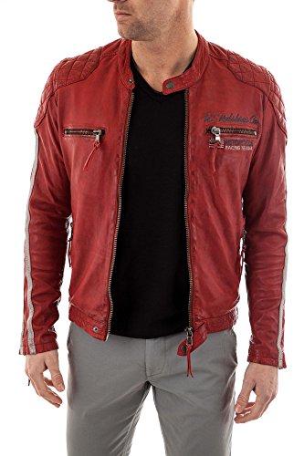 Redskins-Giacca in pelle per motociclista Slim fit Casey Calista estate 2015, colore: rosso rosso Small