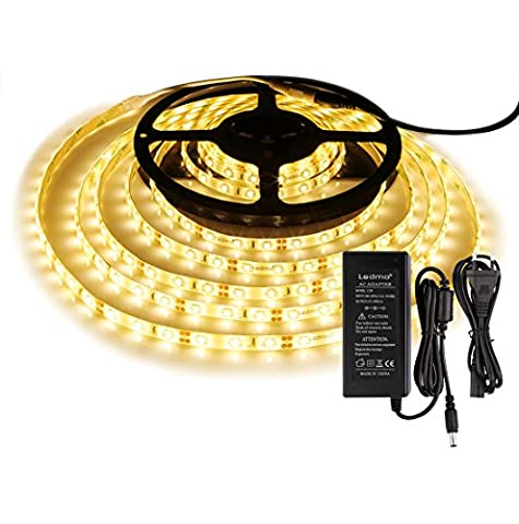 LEDMO KIT Bande Lumineuse LED,DC12V SMD 2835 Ruban LED,IP65 2700K Lumière Blanc Chaud Ruban LED,300LEDs,Pack avec Bande LED 5M et Transformateur 12V 5A.