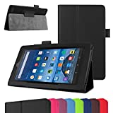 "Fire 7 5th Generation Case,Mama Mouth PU Leather Folio 2-folding Stand Cover with Stylus Holder for 7"" Amazon Fire 7 Android Tablet 5th Generation 2015 release,Black"