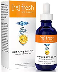 Fruit Acid Gel Peel 15% (Lactic Glycolic Pyruvic) Enhanced with Kojic - Professional Chemical Peel Best At Home AHA Peel