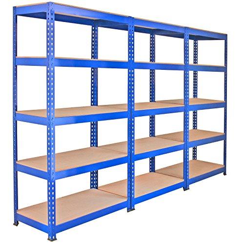 Monster Racking 3 x Q-Rax Regal Hochleistungsregal Schwerlastregal Lagerregal Garagenregal Stahlregal Industrieregal Werkstattregal Steckregal Metallregal 100% schraubenlos 90cm in Blau