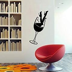Idea Regalo - Gambe Sexy E Bicchiere Di Vino Vinile Arte Diy Wall Sticker Decorazione Della Casa Soggiorno Ristorante Fashion Decalcomanie Murales 115Cm X 35Cm
