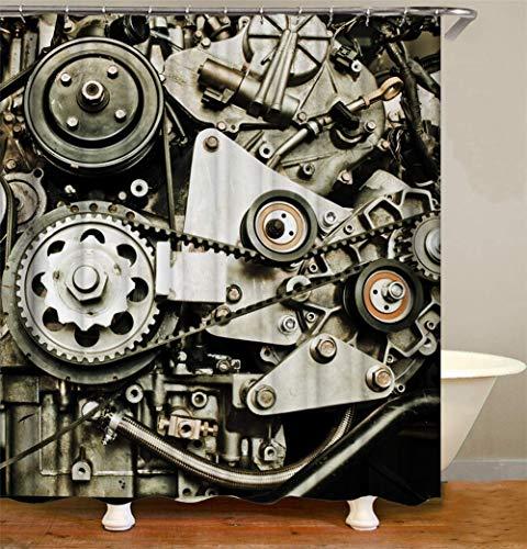 WENYAO Mechanische Dekoration. Maschinenräder und Förderbänder. Wasserdicht. Einfach zu säubern. Duschvorhang. 180X180Cm.