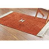 Paja hecha a mano y hecho a mano 4'x 6' sólido marrón chenilla alfombra, estilo: 2031