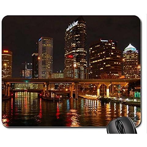 Acqua e skyline-Maglia da hockey squadra Tampa bay Mouse Pad, tappetino per Mouse, colore: nero (Modern Mouse Pad
