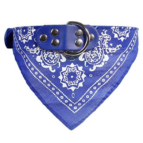 UNSKAM Hunde Halsband mit Dreiecks Tuch Hundehalsband Leder Halsband Verstellbare Hundehalsband längenverstellbar von 23-45 cm Halstuch für Hund Katze Haustier
