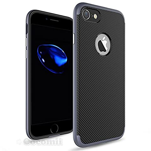 iPhone 8 / iPhone 7 Hülle, Cocomii Demon Armor NEW [Heavy Duty] Premium Carbon Fiber Slim Fit Shockproof Hard Bumper Shell [Military Defender] Full Body Dual Layer Rugged Cover Case Schutzhülle Apple (Metal Slate)