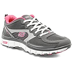 Skechers Flex Challenge Tone Ups Womens Trainers / Shoes - Grey - SIZE UK 4
