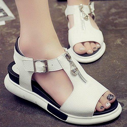 TAOFFEN Damen Fashion Peep-toe Pleatform Shoes Slingback Sandalen With Zipper Weiß