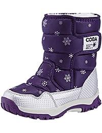 Niños Botas de Nieve Invierno niños y niñas Cuero más Terciopelo cálido algodón Zapatos niños Felpa Impermeable Antideslizante Zapatos de Moda