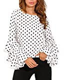 StyleDome Mujer Camiseta Mangas Largas Volantes Lunares Blusa Elegante Noche Casual Oficina (EU 50, Blanco)