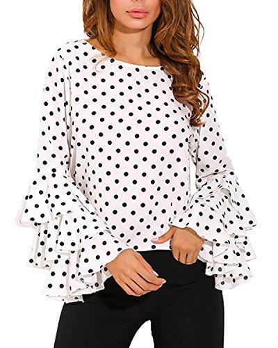 StyleDome Mujer Camiseta Mangas Largas Volantes Lunares Blusa Elegante Noche Casual Oficina (EU 48, Blanco)