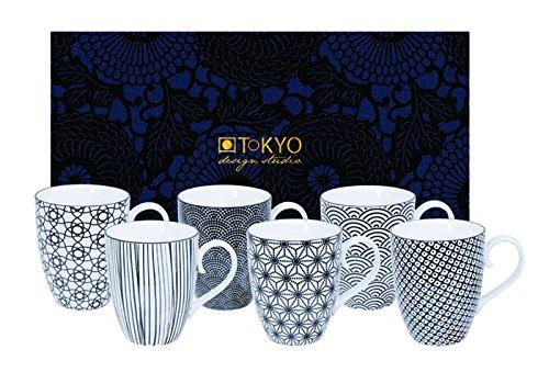 Tokyo Design Studio, Nippon Black, 6er Tassen-Set mit Henkel in dekorativer Geschenkbox, 10.2cm, Ø 8.5cm, 380 ml, Porzellan