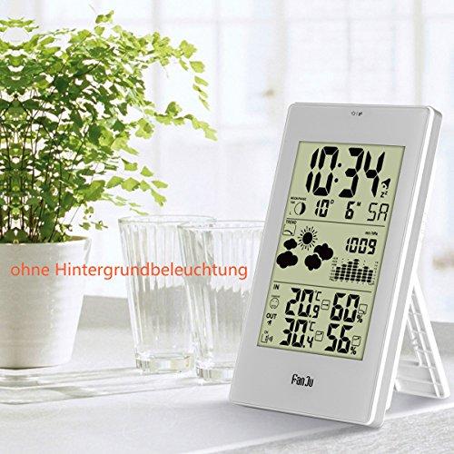 FanJu FJ3352 Wetterstation mit Außensensor Funk / Innen- und Außentemperatur und Feuchtigkeit / DCF-Empfangssignal Funkwetterstation / Mondphase / Betrieben Uhr mit Thermometer. - 4