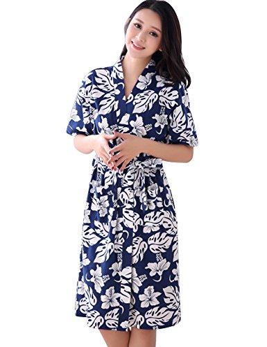 MOKAYA Damen Pyjamas Bademäntel Stricken Kurzarm-Pyjama für Damen aus Baumwolle Schlafanzug (XL,Blau) (Baumwolle Nachthemd Stricken)