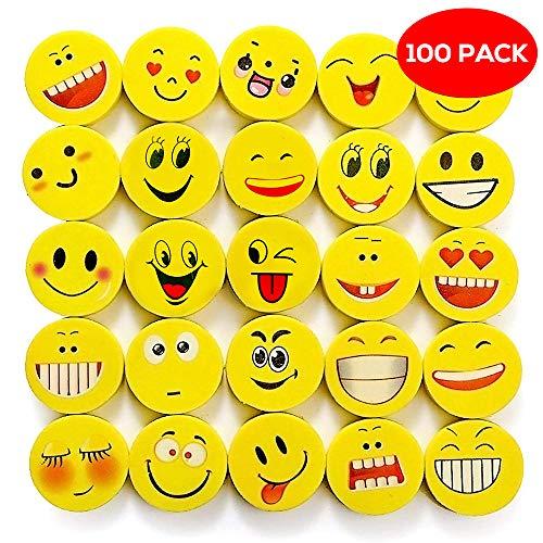 THE TWIDDLERS 100x Emoji & Smiley Radiergummi in 6 verschiedenen Designs – ideal als Partyzubehör für Kindergeburtstag, Partyartikel & Geburtstags-Mitbringsel