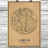 Juou Vintage Retro Lissabon Poster Krafts Papier Welt
