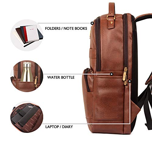 The Clownfish Victor 27 liters Vegan Leather Mature Unisex Laptop Backpack for 14 inch Laptop (Amber) Image 6
