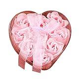 Rosennie Seifenblume 9Pcs Herz duftende Bad Körper Blütenblatt Rose Blume Seife Hochzeit Dekoration Geschenk Geburtstags Rosen-Duftseifen in Geschenk-Box (Rosa )