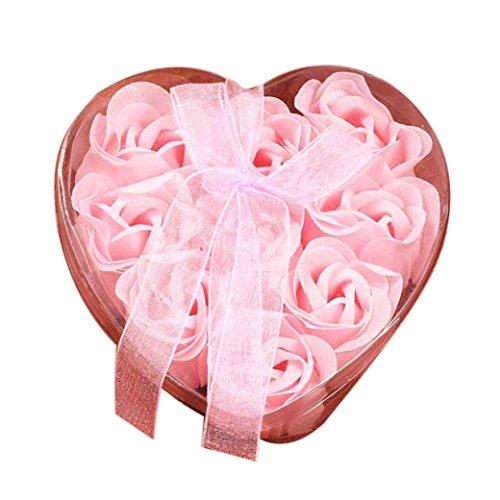 Rosennie Seifenblume 9Pcs Herz duftende Bad Körper Blütenblatt Rose Blume Seife Hochzeit Dekoration Geschenk am besten Geburtstags Rosen-Duftseifen in Geschenk-Box (Rosa ) -