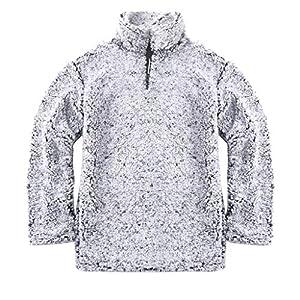 feiXIANG Damen Sweatshirt Pullover Outwear beiläufige Feste Zip Up Langarm Oberteil Elegant Vintage Tunika Bluse Langarmshirt
