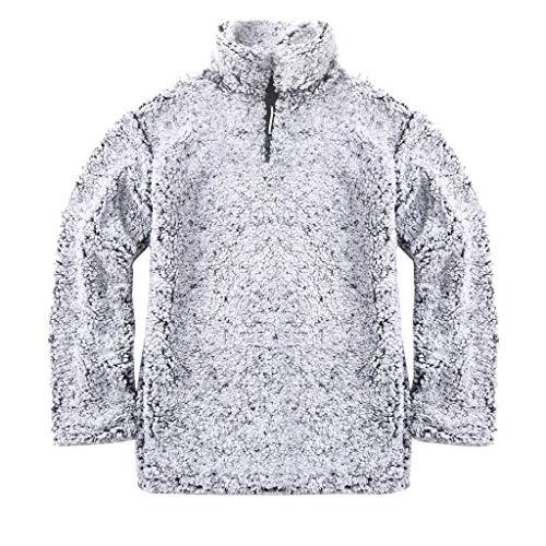 GOKOMO Frauen-warme flaumige Winter-Feste beiläufige Reißverschluss-Oben Sweatshirt-Pullover Outwear(Grau,XX-Large) Stretch Lace Shell