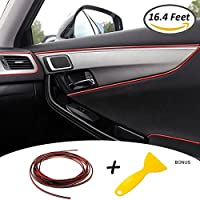 Tiras Líneas de Molduras Interior del Coche - AUTOMAN 16.4 Pies Decoración Moulding Trim Strip línea Para la Mayoría de los Automóviles (5m Rojo)