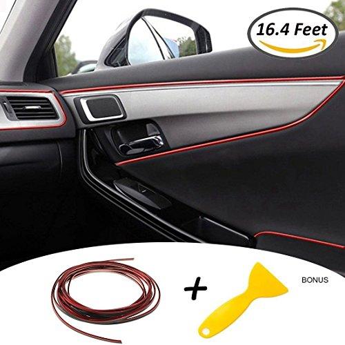 Foto de Tiras Líneas de Molduras Interior del Coche - AUTOMAN 16.4 Pies Decoración Moulding Trim Strip línea Para la Mayoría de los Automóviles (5m Rojo)
