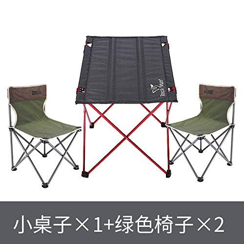 Xing Lin Klapp Tisch Outdoor Portable Klapptisch Picknicktisch Portable  Outdoor Klappbare Tisch Und Stuhl, Einen Kleinen Tisch Und Zwei Grüne Stühle