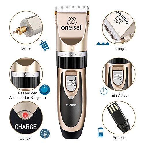 Oneisall Haustier Grooming Clipper Kits Geräuscharmer Haarschneidemaschine Hund und Katze wiederaufladbare drahtlose elektrische leise Tierhaarschneider - 2