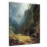 Bilderdepot24 Kunstdruck - Alte Meister - Carl Spitzweg - Mädchen auf der ALM - 30x40cm Einteilig - Leinwandbilder - Bilder als Leinwanddruck - Bild auf Leinwand - Wandbild