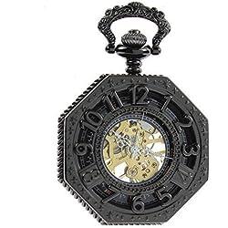 itemstoday Herren Bronze Antik römischen Ziffern Gehäuse und Zifferblatt Skelett Mechanische Taschenuhr Steampunk