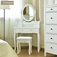 Joolihome White Vanity Makeup Dressing Table 4 Drawers Dressing Table Mirror Drawers Girls (1 Mirror + 4 Drawer+Stool) White Color